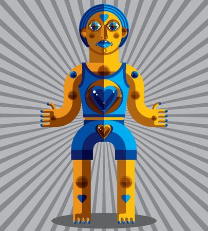 cubismo: ilustraci�n vectorial modernista, geom�trico avatar estilo del cubismo aislado en el fondo decorativo rayado. imagen de personaje extra�o nacido en dise�o plano.