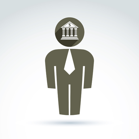 delegar: Silhouette of person standing in front - vector illustration of an office manager.  Delegate, consultant, white-collar worker. Vector banking symbol, bank building icon. Financial service concept. Vectores