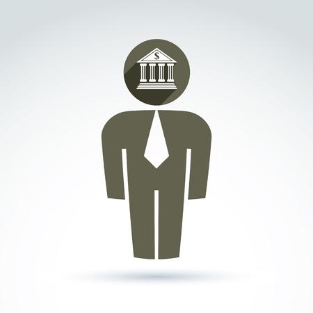 delegar: Silueta de la persona de pie delante - ilustraci�n vectorial de un gerente de oficina. Delegado, consultor, trabajador de cuello blanco. Vector s�mbolo de la banca, la creaci�n de banco icono. concepto de servicio financiero. Vectores