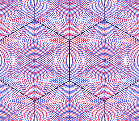 entwine: Bright symmetric seamless pattern with interweave figures. Continuous geometric composition with transparency effects, for use in graphic design.