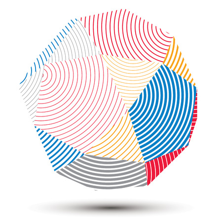 stripy: Vector complicated 3d figure, modern digital technology style form. Abstract stripy bright three-dimensional object.