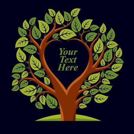 Ilustración del vector de árbol con hojas y ramas en forma de corazón con copia espacio en blanco. Tu texto aqui. Ilustración de vector
