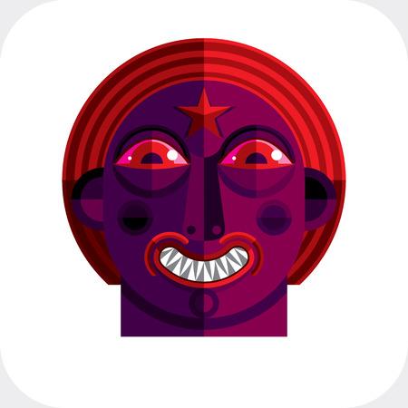 cubismo: Ilustración del vector del avatar modernista bizarro, imagen tema cubismo. Expresión de la cara de una persona. Vectores