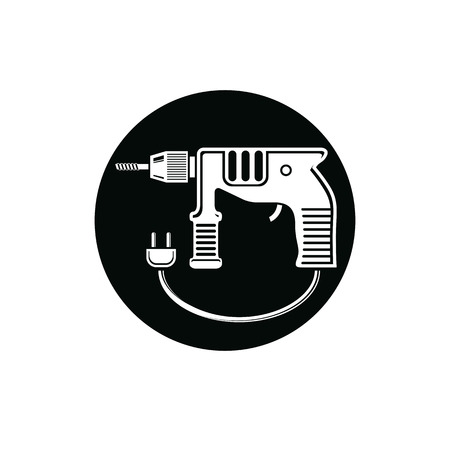 manufactory: Professional instrument simple vector illustration, electric power tool. Building and manufacturing theme icon, drill symbol. Illustration