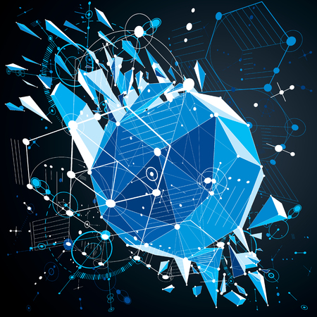 bauhaus: Bauhaus wallpaper with low poly design elements, perspective blue vector background made using wireframe and honeycombs. Geometric graphic illustration can be used as booklet cover design. Illustration