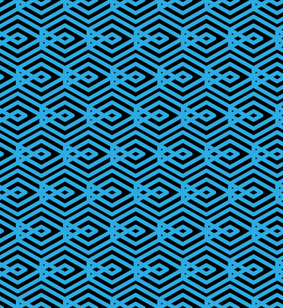 interweave: Blue abstract seamless pattern with interweave lines. Vector ornament wallpaper. Endless decorative background, visual effect geometric tracery with rhombs.