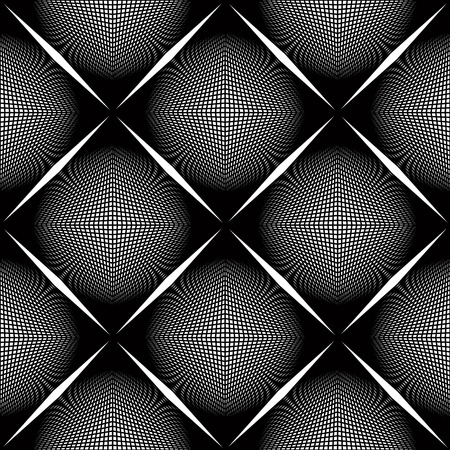 Black and white vector ornamental pattern, seamless art background decorated with monochrome lines, best for graphic and web design. Endless ornate, kaleidoscope effect.