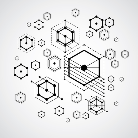 bauhaus: Vector abstract black and white background created in Bauhaus retro style. Modern geometric composition can be used as templates and layouts. Engineering technological wallpaper made with honeycombs. Illustration