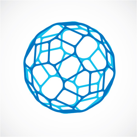 facets: 3d vector low poly blue spherical object, perspective orb created with pentagonal facets. Abstract polygonal element for use as design structure on communication technology theme