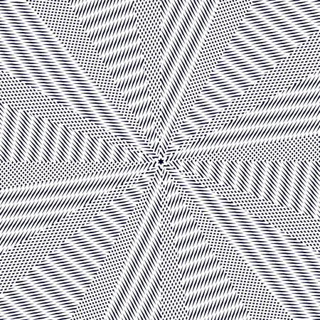 Geometric background created with moire technique. Vector contrast lined tiling with visual effects.