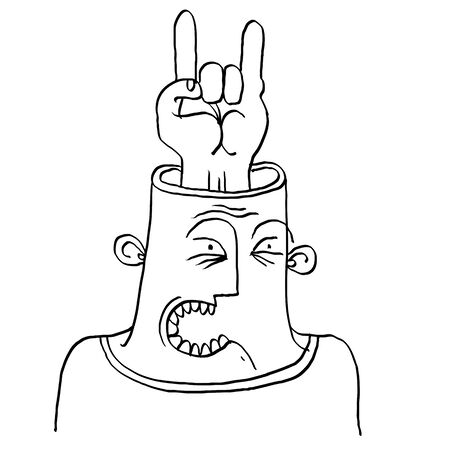 rocker: Vector conceptual illustration of rocker. Monochrome hand drawn picture of rock n roll music fan, rock on symbol Illustration