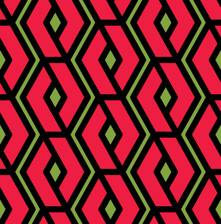 intertwine: Colorful geometric overlay seamless pattern, symmetric endless vector background with intertwine red lines. Abstract artistic splicing covering.