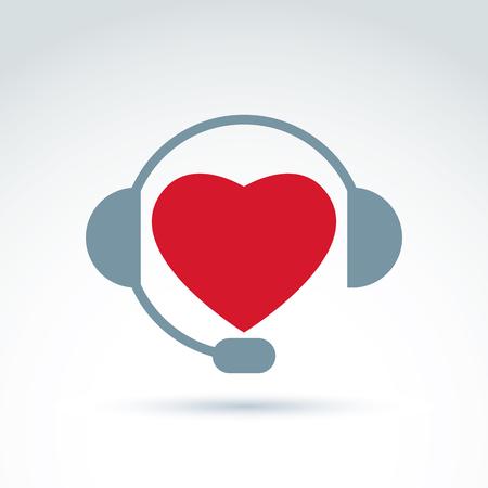 empathy: Call center icon with headphones, consultation symbol. Empathy vector icon, loving heart symbol. Illustration