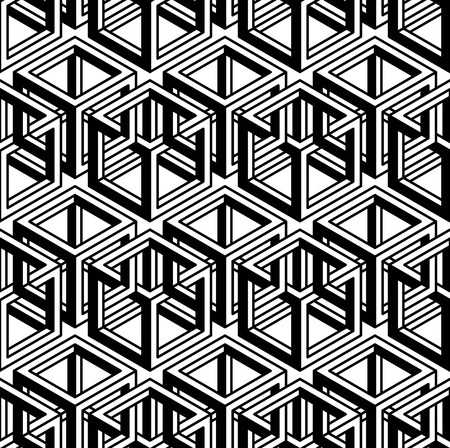 superimpose: Seamless optical ornamental pattern with three-dimensional geometric figures. Intertwine black and white composition. Illustration