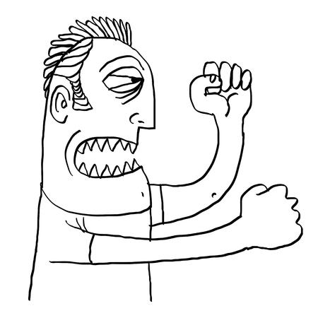 ser humano: concepto de combate, dibujado a mano ilustración de un ser humano listo para perforar a alguien con los puños. Vectores