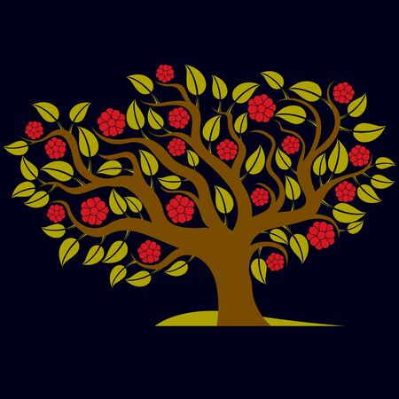 flowered: Vector illustration of spring branchy tree with beautiful blossom. Gorgeous flowers, blooming tree art image, can be used as design symbol on ecology theme.