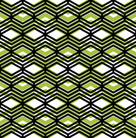 intertwine: Colorful geometric seamless pattern, symmetric endless vector background with intertwine green and black lines. Abstract concept splicing covering. Illustration
