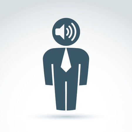 white collar: White collar office worker man icon with loudspeaker, conceptual vector symbol.