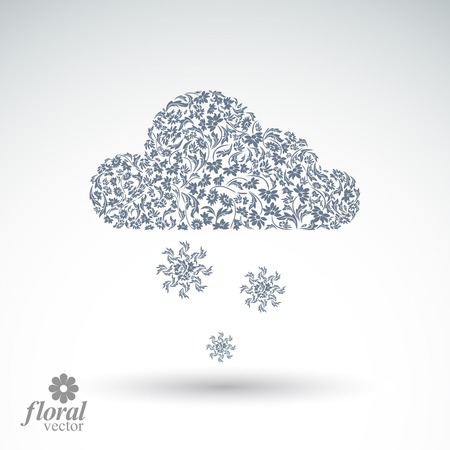 cloudburst: Winter snowing cloud with snowflakes, weather forecast simple vector pictogram. Flowery graphic weather conditions icon, design season image.