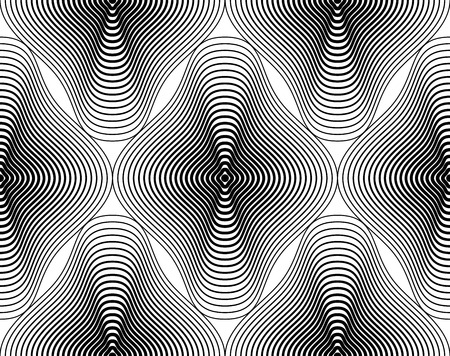 intertwine: Black and white illusive abstract seamless pattern with geometric figures. Vector symmetric simple backdrop. Illustration