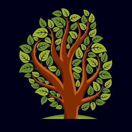 branchy: Art illustration of spring branchy tree, stylized ecology symbol. Graphic design vector image on season idea, environmental conservation idea.