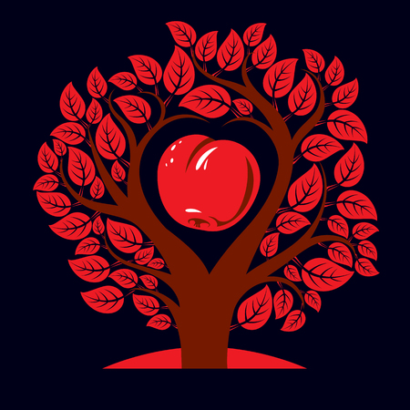 motherhood: Vector illustration of tree with branches in the shape of heart with an apple inside, love and motherhood idea image. Ecology conservation theme illustration.