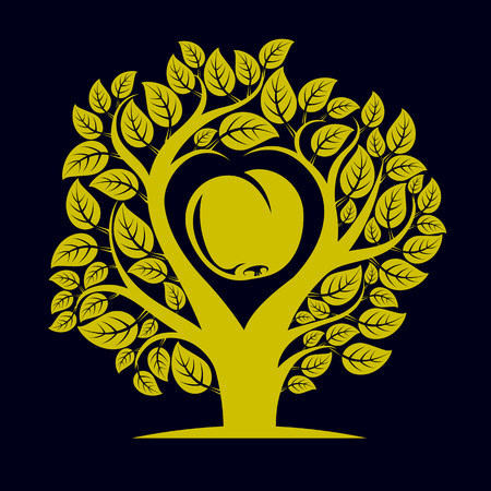 love image: Vector illustration of tree with branches in the shape of heart with an apple inside, love and motherhood idea image. Ecology conservation theme illustration.