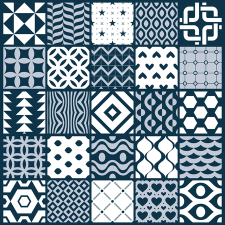 white tile: Vector ornamental black and white seamless backdrops set, geometric patterns collection. Ornate textures made in modern simple style.