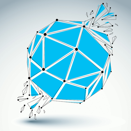 demolished: Vector dimensional wireframe object, blue spherical demolished shape with refractions and wreckage. 3d mesh technology element broken into pieces. Illustration