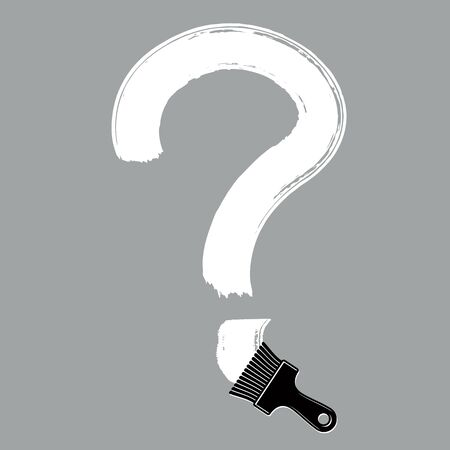 punctuation mark: Vector hand-drawn question mark isolated, punctuation mark created with paintbrush. Monochrome conversation symbol made with brushstrokes. Illustration