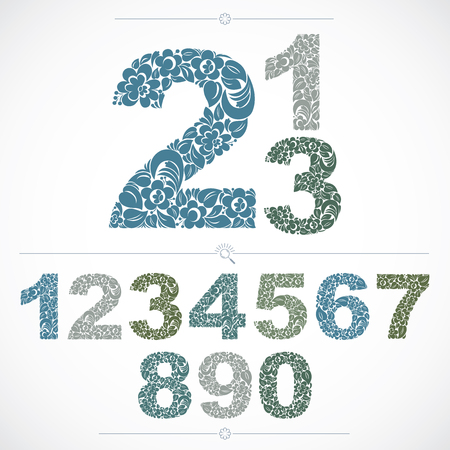 numeration: Ecology style flowery numbers, vector numeration made using natural ornament. Colorful digits created with spring leaves and floral design. Illustration