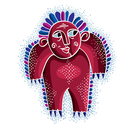 eccentric: Character monster vector flat illustration, cute red  mutant. Drawing of weird beast, emotional expression. Illustration