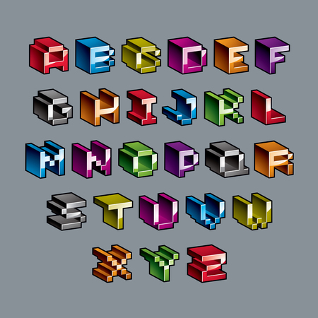 8 bit: Vector modern tech alphabet letters set. Geometric pixilated digital font, 3d dotted 8 bit characters. Illustration