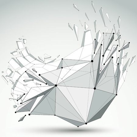 fragmentation: 3d vector low poly object with black connected lines and dots, geometric wireframe shape with refractions. Asymmetric perspective shattered grayscale form with thread.