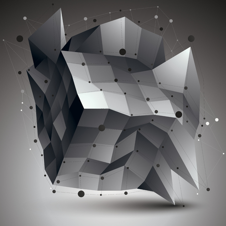 deformed: Abstract 3D structure polygonal network object, grayscale deformed figure.