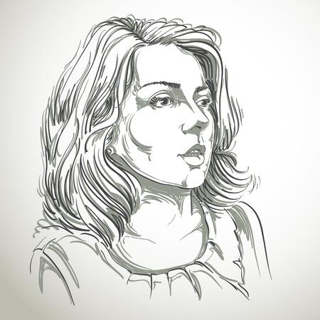 Monochrome vector met de hand getekende afbeelding, verbaasde jonge vrouw. Zwart-wit afbeelding van de witte huid seus meisje.