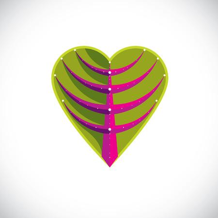 cubismo: hoja del árbol hecha en forma de corazón, elemento botánico creado en estilo del cubismo moderno. Se preocupan por la naturaleza y la ilustración vectorial tema de la ecología.