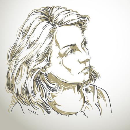 Vector tekening van een rustige vrouw met stijlvolle kapsel. Zwart-wit portret van aantrekkelijke kalme romantische dame.