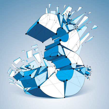 demolished: Perspective technology demolished blue number 3 with black lines and dots connected, polygonal wireframe font. Explosion effect, abstract faceted element cracked into multiple fragments.