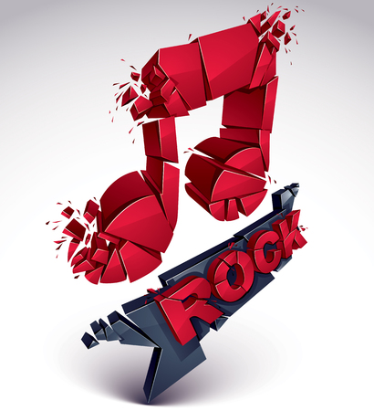 smashed: Red 3d vector shattered musical note with specks and refractions. Dimensional facet design music demolished symbol. Rock music theme