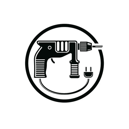 Professional instrument simple vector illustration, electric power tool. Building and manufacturing theme icon, drill symbol. Çizim