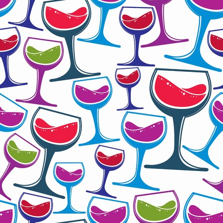 revelry: Winery theme vector seamless pattern, decorative stylish wine goblets. Wine tasting conceptual symbols, continual background for graphic design.