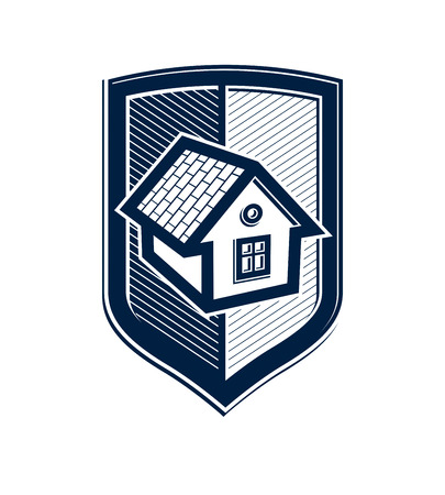 house coat: Safety idea, abstract vector heraldic symbol with classic house. Real estate brand design element, conceptual coat of arms.