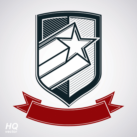 honour guard: Vector shield with pentagonal comet star and decorative curvy band, protection heraldic sheriff blazon with red ribbon. Ussr socialism conceptual symbol. Award, graphical coat of arms. Illustration