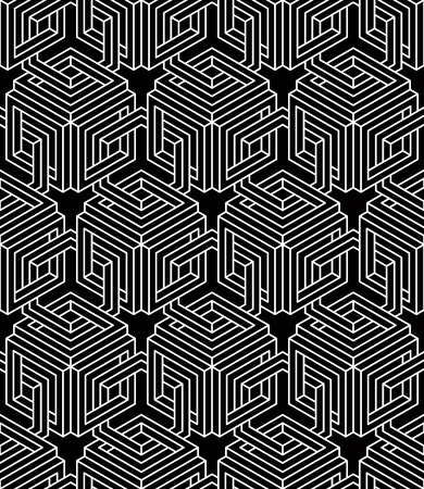 interweave: Contrast black and white symmetric seamless pattern with interweave figures. Continuous geometric composition, for use in graphic design.