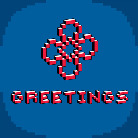 8 bit: Greetings phrase created in digital technology style, vector 8 bit simple flower. Celebration theme, pixel art inscription.