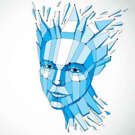 mindful: Smart person and mind concept, human head exploding and breaks into multiple fractures.3d vector illustration of thoughtful woman face created in low poly modernized style and with lines mesh