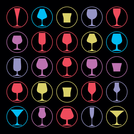 glass half full: Colorful drinking glasses collection. Set of alcohol theme simple vector illustrations. Celebration elements, best for use in graphic and web design.