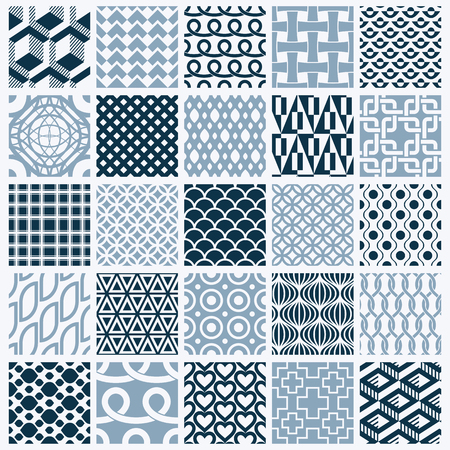 entwine: Vector graphic vintage textures created with squares, rhombuses and other geometric shapes. Monochrome seamless patterns collection best for use in textiles design.