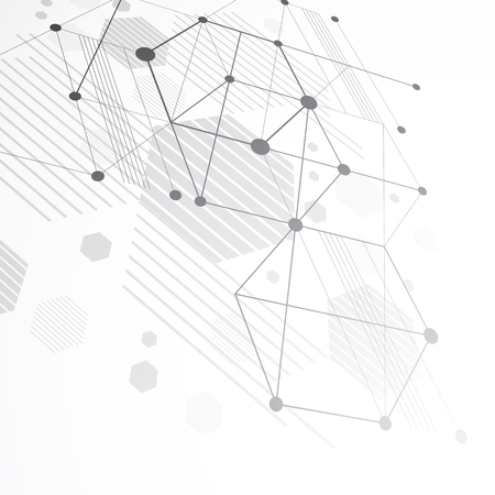 overlie: Modular Bauhaus 3d vector monochrome background, created from simple geometric figures like hexagons and lines. Best for use as advertising poster or banner design.